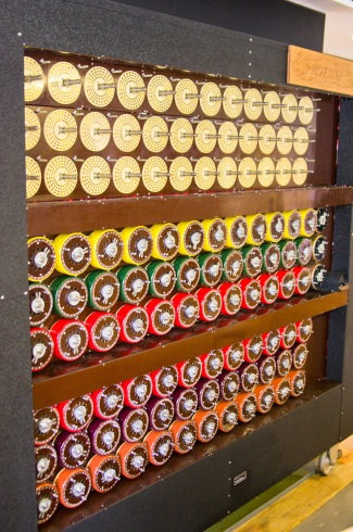 Turing's Bombe computer, rebuilt at Bletchley Park